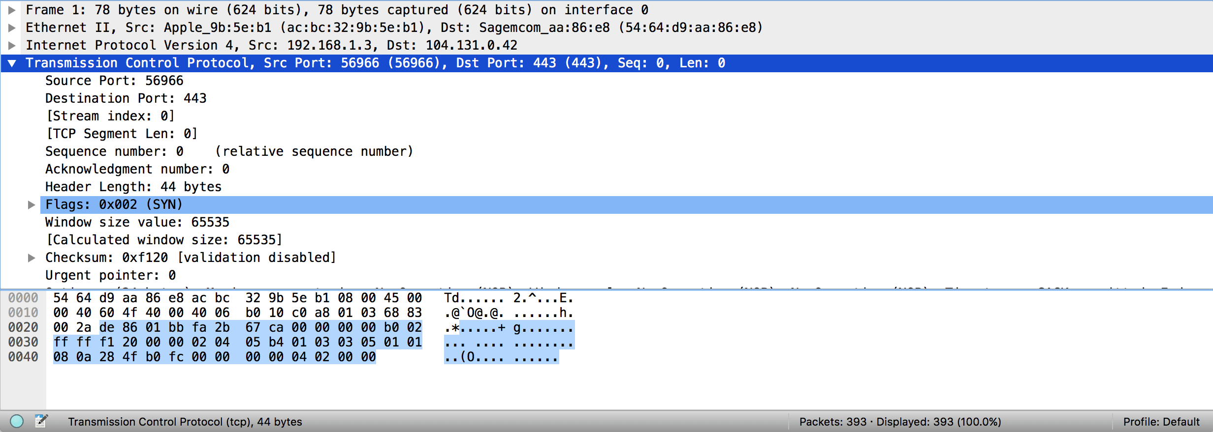 Detail view of single packet in Wireshark